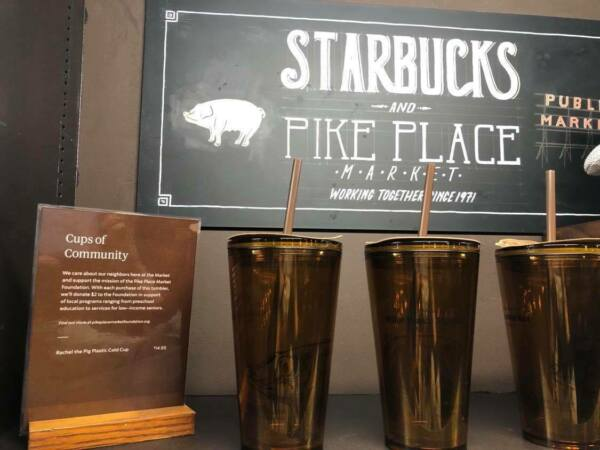 Original First Starbucks Pike Place Rachel the Pig Plastic Cold Cup Tumbler