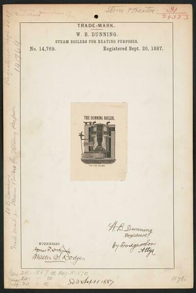 W. B. Dunning for The Dunning Boiler. brand Steam Boilers for Heating Purposes $11.00