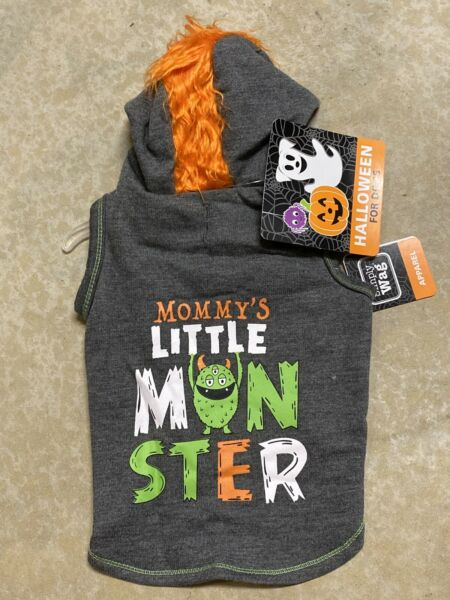 SIMPLY DOG HALLOWEEN quot;MOMMY#x27;S LITTLE MONSTERquot; GRAY Hoodie Puppy Dog MEDIUM $16.50