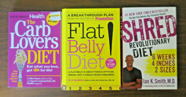 Lot of 3 THE CARB LOVERS DIET SHRED THE REVOLUTIONARY DIET amp; FLAT BELLY DIET $6.99