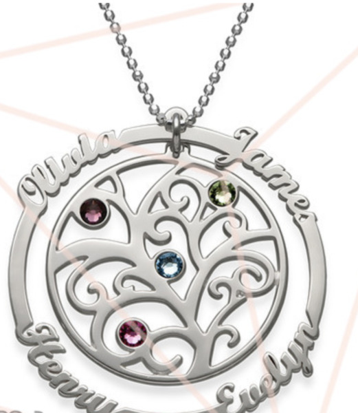 PERSONALIZED BIRTHSTONE FAMILY TREE NECKLACE STERLING SILVER
