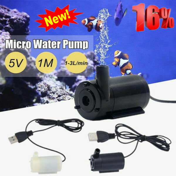 USB 1 Meter Cable Mute Small Water Pump Mini Submersible Hot Pump 5V 1.0A V4C3 $2.74