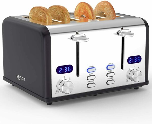 4 Slice Toaster Stainless Steel Toasters with Timer Wide Slot Bagel Defrost