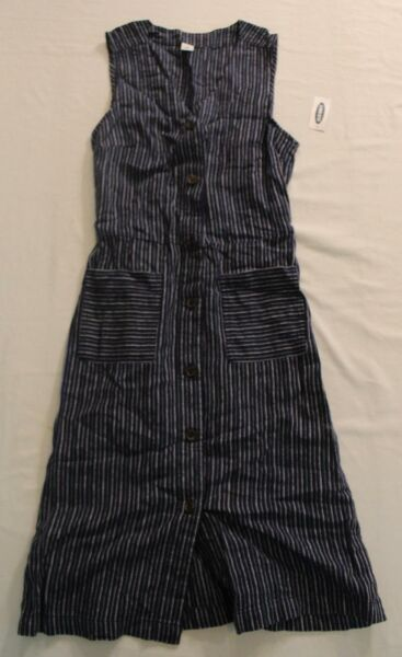 Old Navy Women's Sleeveless Striped Linen Fit amp; Flare Dress NA8 Navy Size XS NWT $29.99