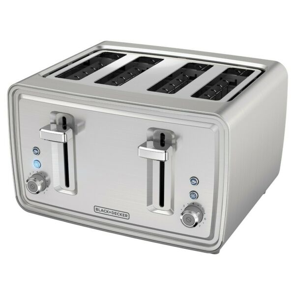 850W 4 Slice Toaster Stainless Steel Extra Wide Slots Bagel High Lift Carriage