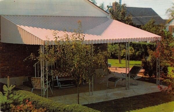 Indianapolis Indiana John C Harrower Inc Patio Covers Awnings 1950s Adv Postcard $8.00