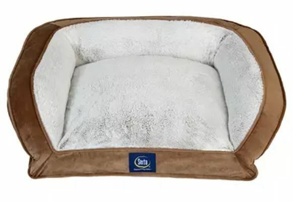 Serta Perfect Sleeper Memory Foam Couch Pet Bed 24quot; x 20quot; Dog Orthopedic Brown $39.99