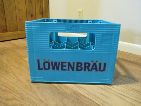 GERMAN 20 Bottle BEER CRATE LOWENBRAU Munchen Blue Case Container Man Cave