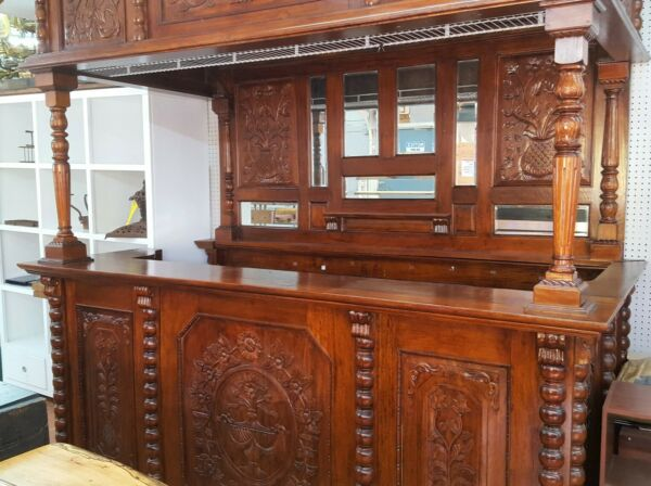 Unique Large Carved Mahogany Back Bar