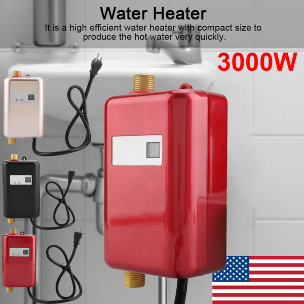 3000W 110V Instant Electric Hot Water Heater Tankless Bathroom Shower Kitchen $49.10