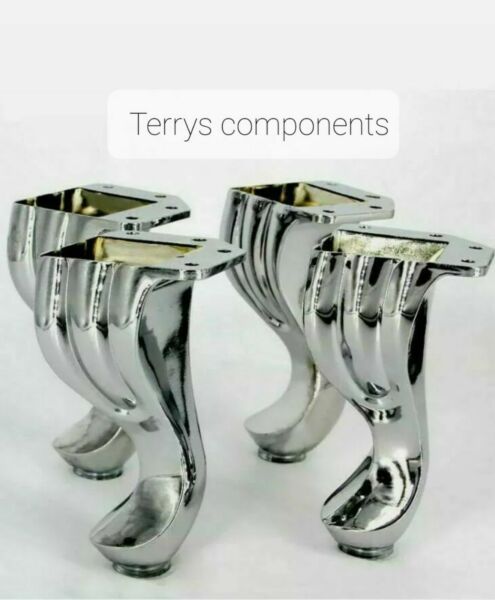 4x CHROME FURNITURE FEET LEGS FOR SOFA BEDS CHAIRS STOOLS TABLE PRE DRILLED