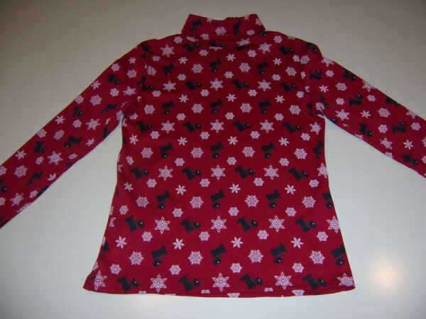 WOMEN#x27;S CASUAL CORNER RED TURTLENECK TOP DOGS amp; SNOWFLAKES SIZE PETITE SMALL $23.00