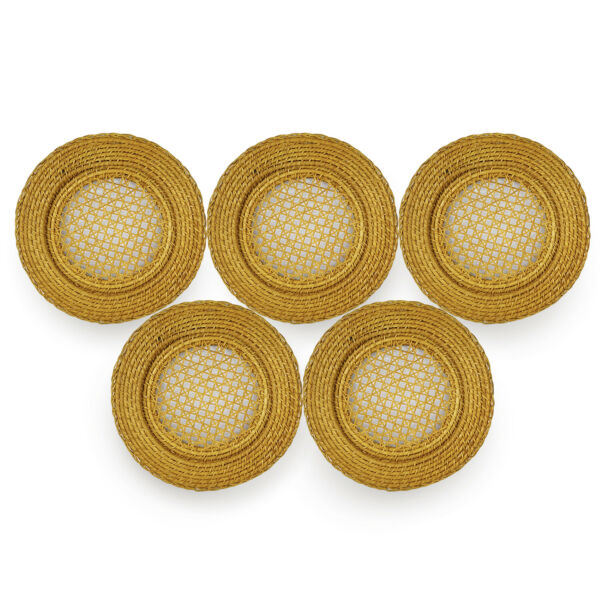 Brown Braided Wicker Rattan Woven Round Plate Placemat 13quot; Chargers Set Of 5