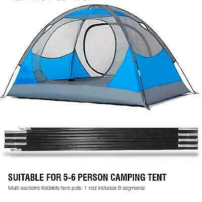 Fiberglass Camping Tent Pole Support Awning Frames Tarp Rod Adjustable Solid❤TU