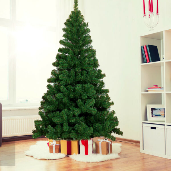 8Ft Artificial PVC Christmas Tree With Stand Holiday Season Home Outdoor Green
