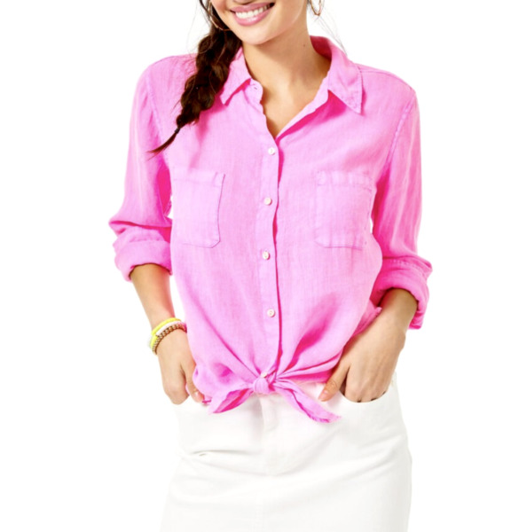 Lilly Pulitzer Womens Sea View Button Down Shirt Linen Prosecco Pink Sizes $98 $69.95