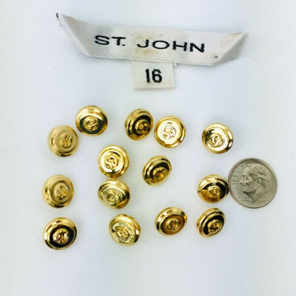 ST. JOHN Replacement SJ Logo Round Shank Button Yellow Gold Lot Of 14