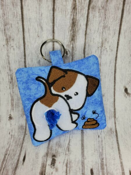Handmade Dog Poop Bag Holder with Two Rolls of Bags $13.99