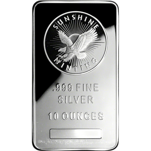 10 oz. Silver Bar Sunshine Minting .999 Fine