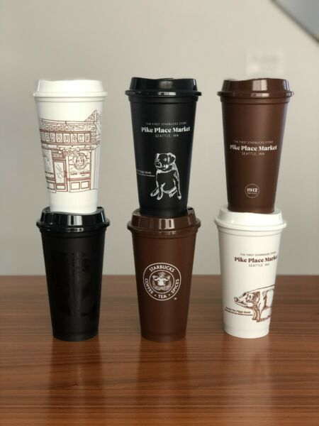 Original First Starbucks Pike Place Reusable Hot Cup 6 pack 16oz Logo Storefront