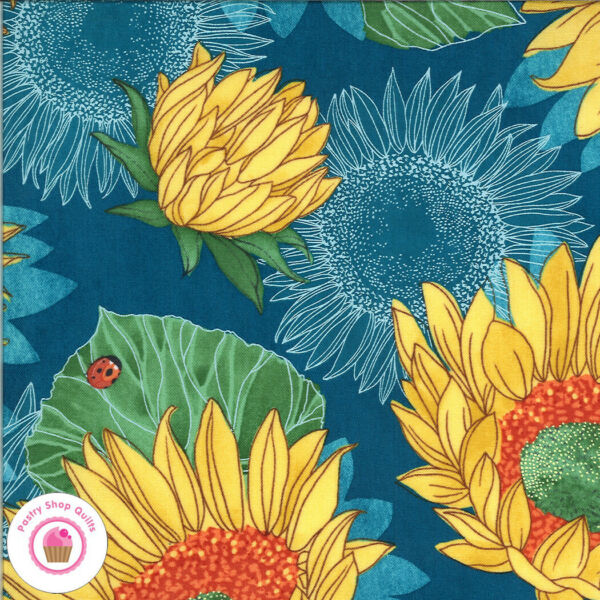Moda SOLANA 48680 16 Dark Blue Sunflower Floral ROBIN PICKENS Quilt Fabric