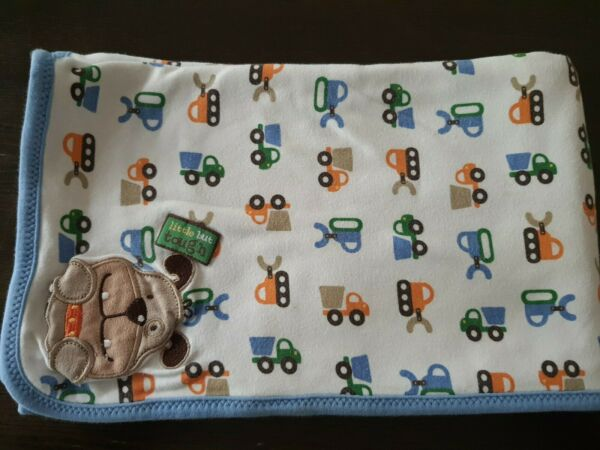 Carters Just One Year Baby Blanket Little but Tough Dog Tractor Blue Green lovey $29.99