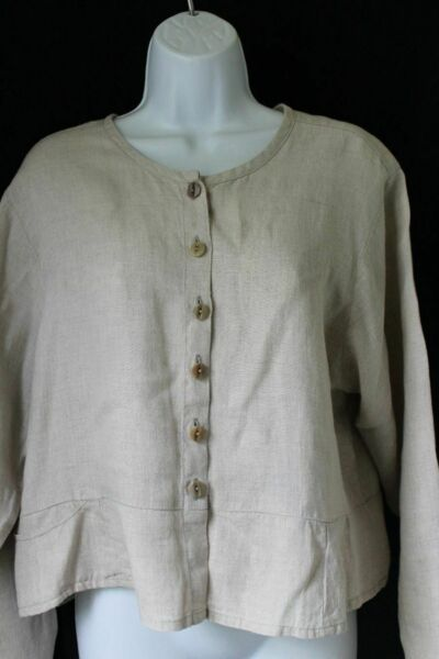 FLAX S Tan Linen Long Sleeve Top $8.99