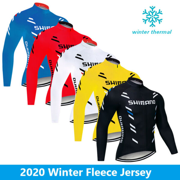 Fleece Men#x27;s Cycling Thermal Jersey Bike Riding Winter Jacket Full Zipper Tops $26.08