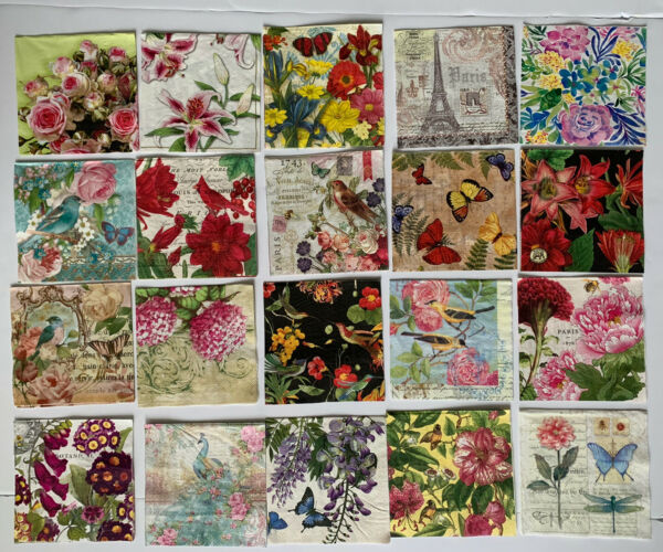 Paper Napkins Art Decoupage Craft ROMANTIC Flowers Butterfly 🦋 LOT OF 20 Unused