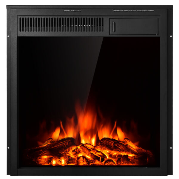 22.5quot; Electric Fireplace Insert Freestanding amp; Recessed Heater Log Flame Remote