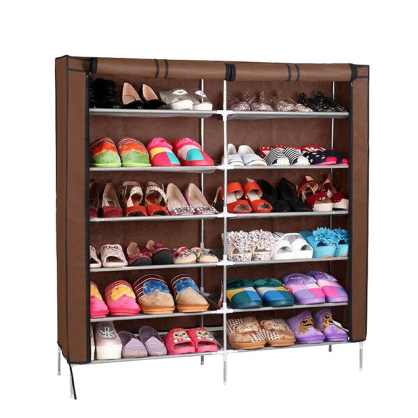 USA 7 Tier 35 Pairs Shoe Rack Tower Cabinet with Cover Organizer Storage Shelf