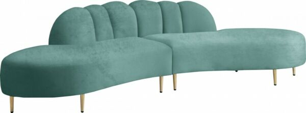 Soft Mint Velvet Living Room Furniture Sectional Sofa Deep Channel Tufting 2pcs $2199.97