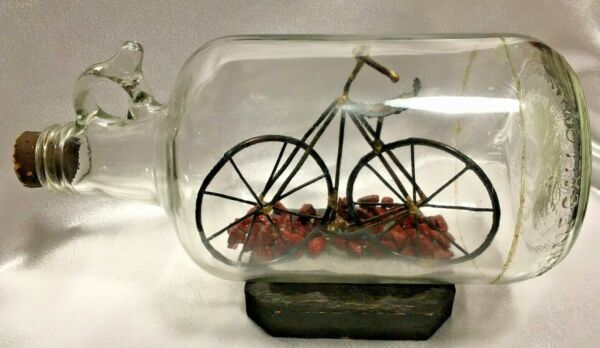 Vintage Hand Home Made Unique Bicycle Bike In A Bottle With Stand amp; Cork  $18.00
