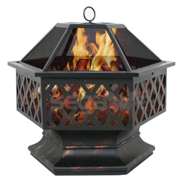 Hex Shaped Fire Pit Outdoor Home Garden Backyard Patio Firepit Bowl Fireplace