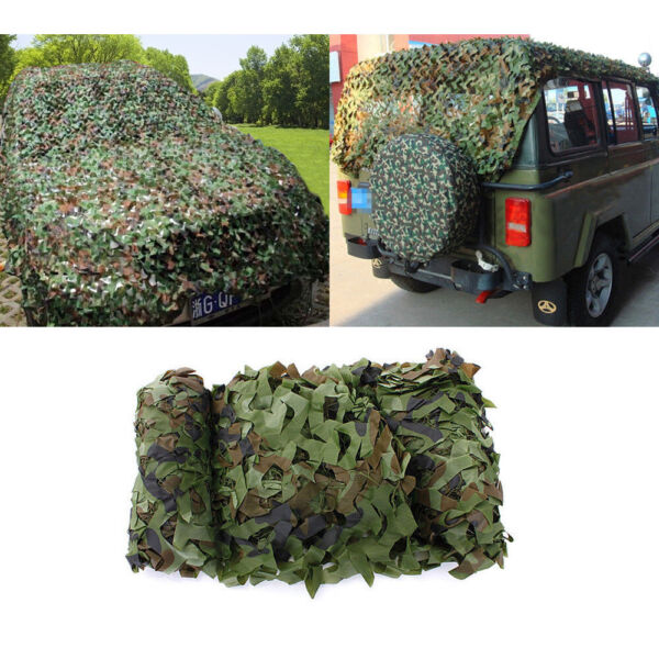 Woodland Camouflage Hunting Netting Military Camo Net Camping Cover 6.5 x 13ft