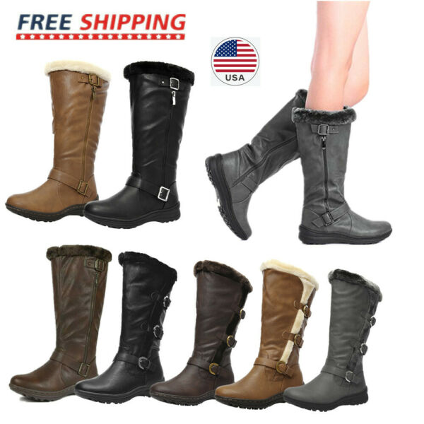 US Womens Faux Fur Winter Warm Snow Knee High Boots Riding Boot Shoes Size 5 11
