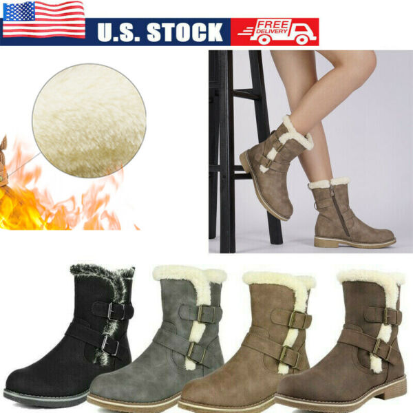 DREAM PAIRS Women#x27;s Mid Calf Fur Lined Winter Snow Boots Zip Up Shoes Size US