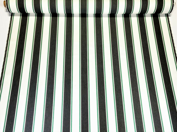 Sunbrella Closeout Dk Denim White Green Stripe Outdoor Awning UV Fabric 54quot;W DWR