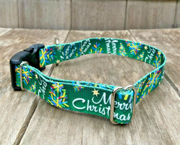 Adjustable Holiday Christmas Dog Collar with Quick Release Buckle Made in USA $9.80