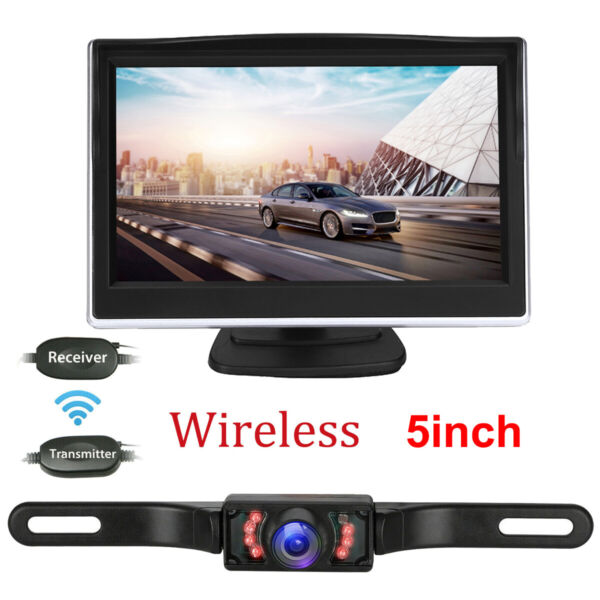 5quot; LCD Wireless Car Backup Camera Rear View Parking System Night Vision Monitor