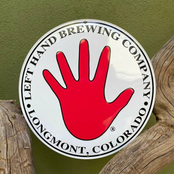 Left Hand Brewing Co Small Round Logo Tin Tacker Metal Beer Sign