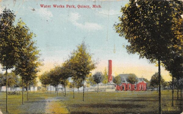 Quincy Michigan Water Works Park Stand Pipe 1910 Postcard $3.85