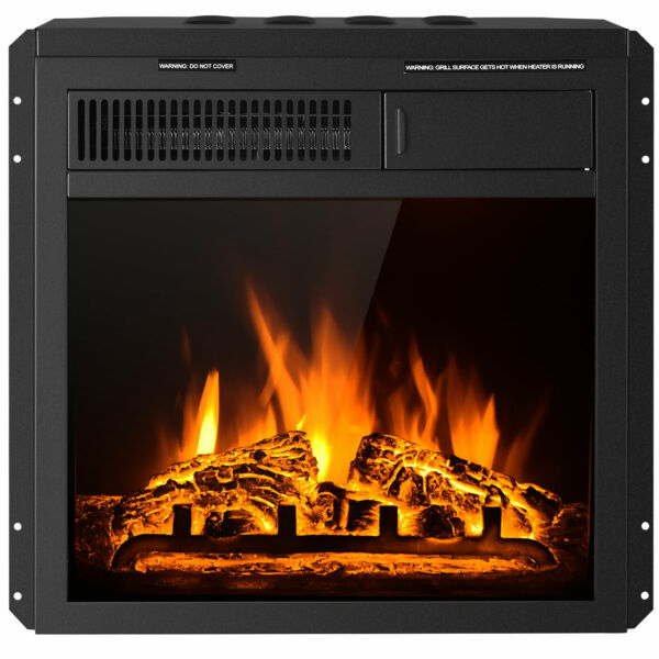 18quot; Electric Fireplace Insert Freestanding amp; Recessed Heater Log Flame Remote