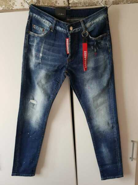 Dsquared2 Men#x27;s Jeans Slim Fit In Blue Paint Splatter Distressed Jeans GBP 67.99