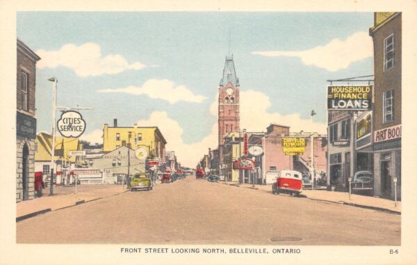 Belleville Ont Front Street Cities Service Gas Station Chrysler Plymouth 1940s