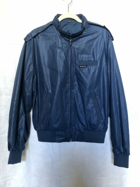 Members Only Vintage Racer Jacket Mens Blue Zip Stand Collar Hand Pockets Sz 42 $18.99