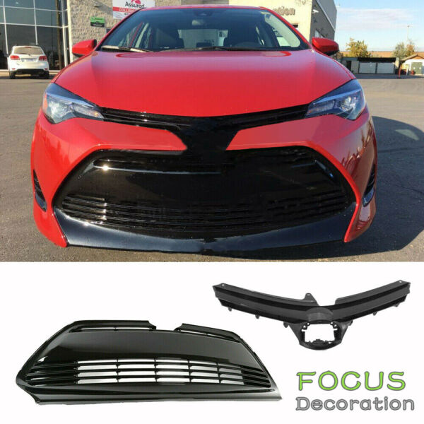For 2017 2018 2019 Toyota Corolla LE XLE Front Bumper Upper amp; Lower Grille Grill