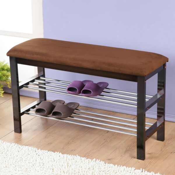 Dark Espresso Wood Shoe Bench with Chocolate Microfiber Seat 19quot;h x 32quot;l x 12quot;d $52.98