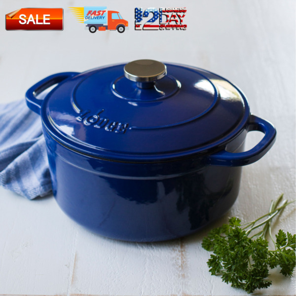 Lodge Enameled Cast Iron 5.5 Quart Dutch Oven Cookware Pots amp; Pans Indigo