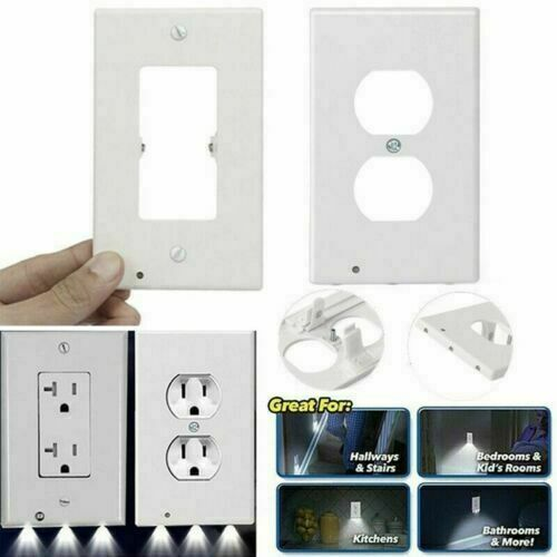 10Pcs DUPLEX WALL PLATE LED NIGHT LIGHT COVER Outlet Light Sensor For Home Decor